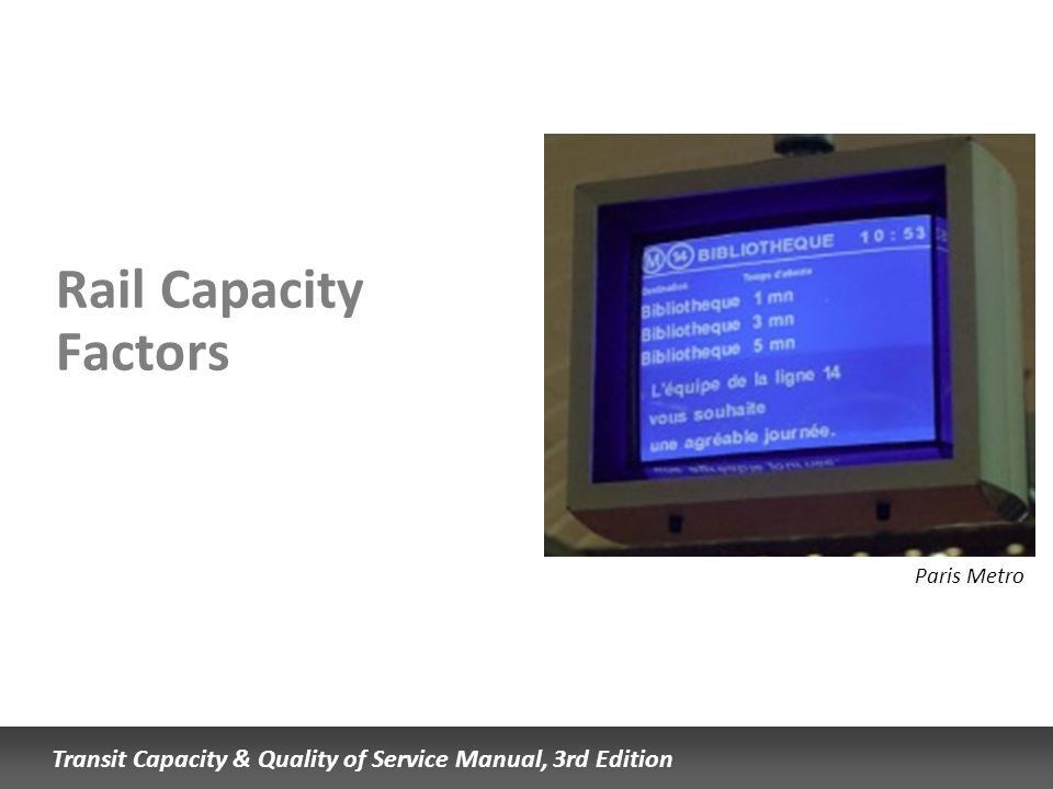 Rail Capacity Factors Paris Metro