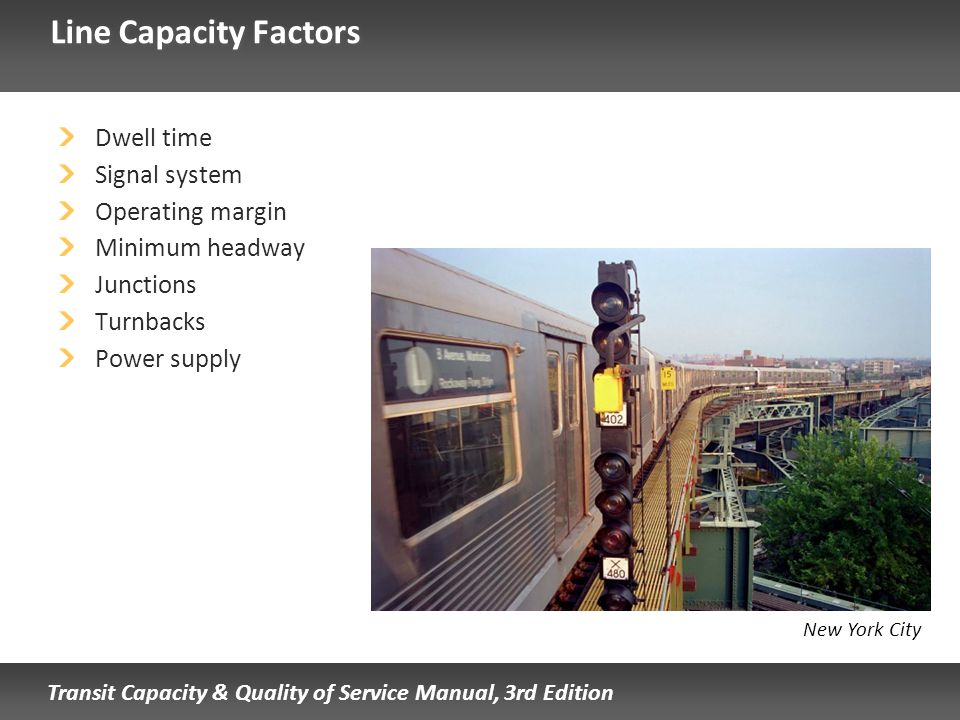 Line Capacity Factors Dwell time Signal system Operating margin