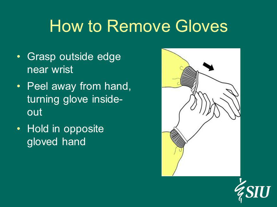 How to Remove Gloves Grasp outside edge near wrist