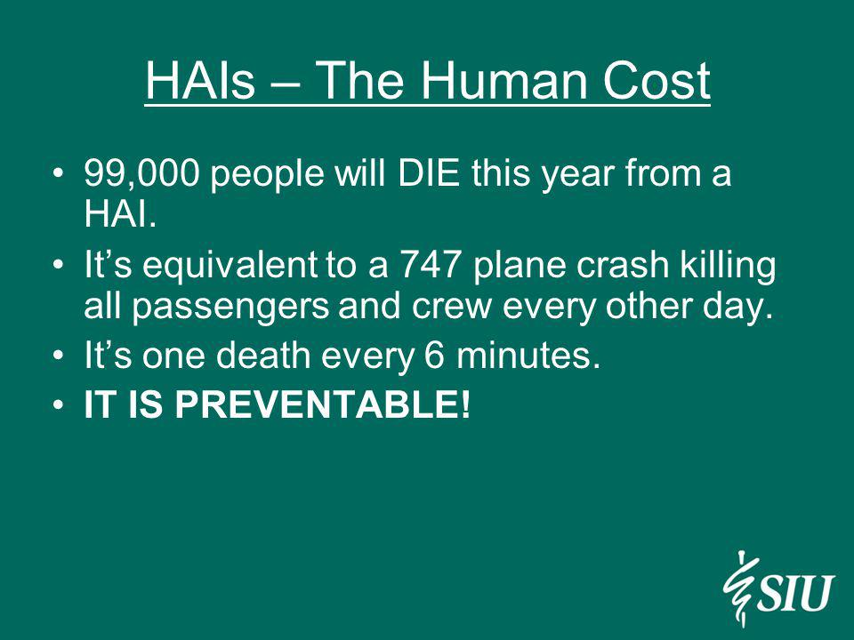 HAIs – The Human Cost 99,000 people will DIE this year from a HAI.