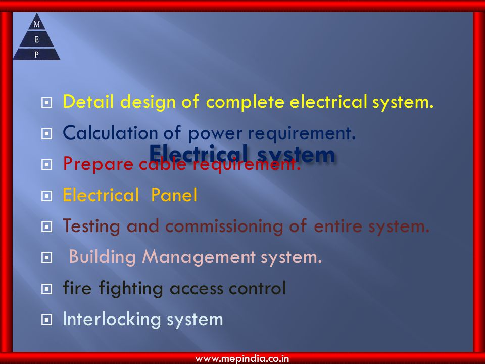 Electrical system Detail design of complete electrical system.