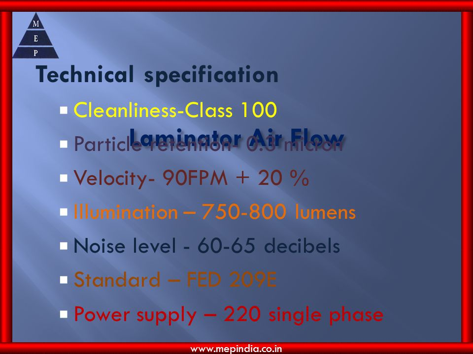 Laminator Air Flow Technical specification Cleanliness-Class 100