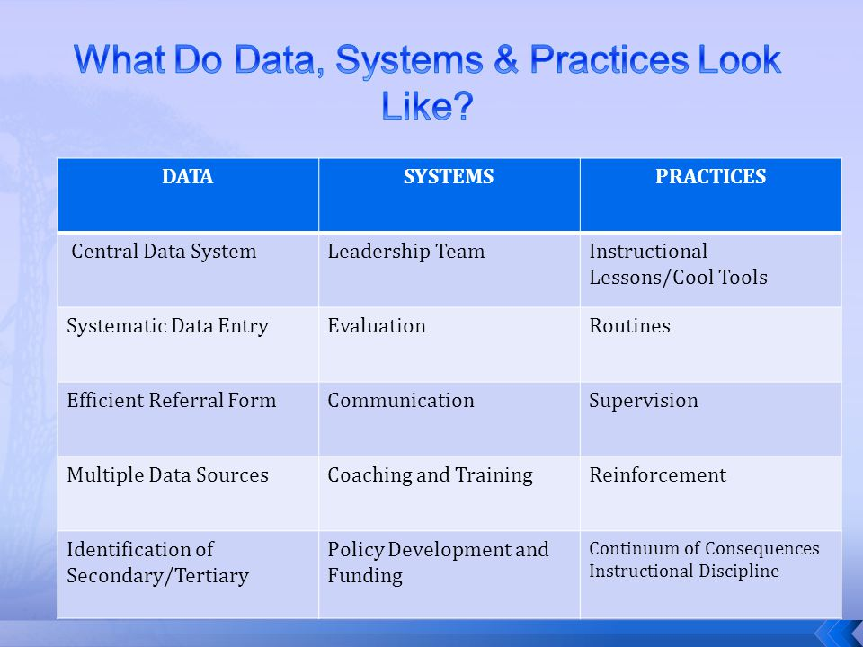 What Do Data, Systems & Practices Look Like