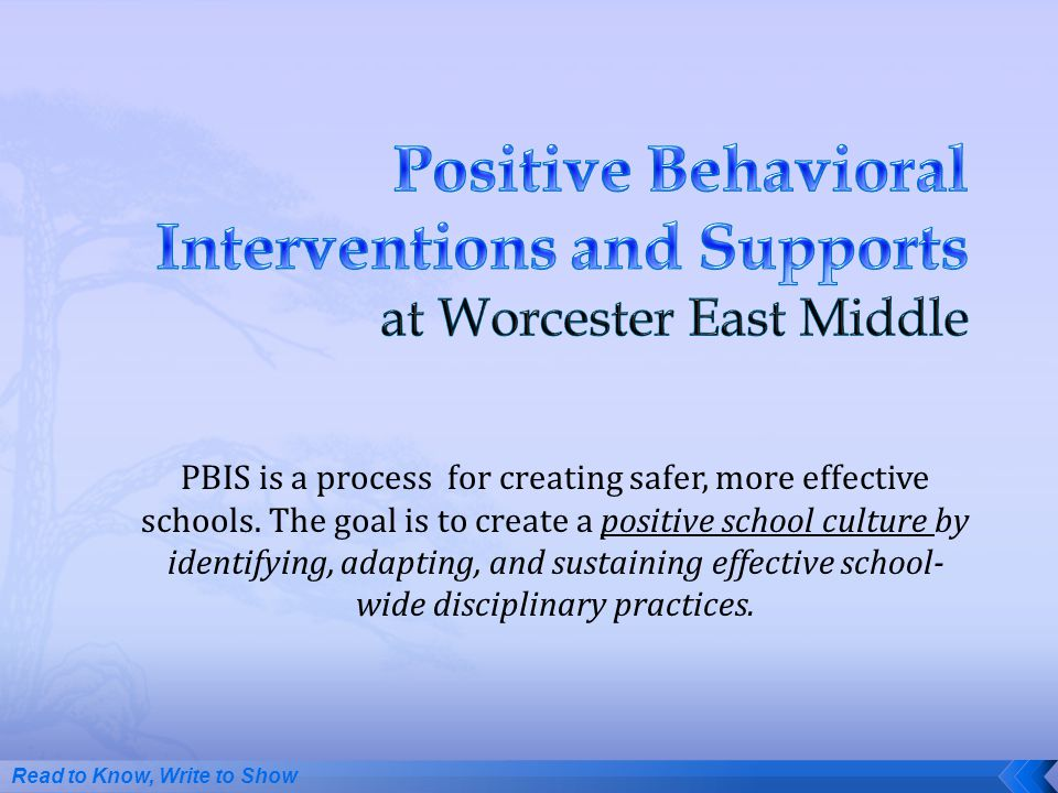 Positive Behavioral Interventions and Supports at Worcester East Middle