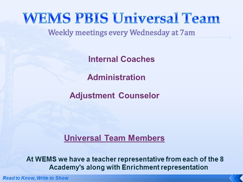 WEMS PBIS Universal Team Weekly meetings every Wednesday at 7am