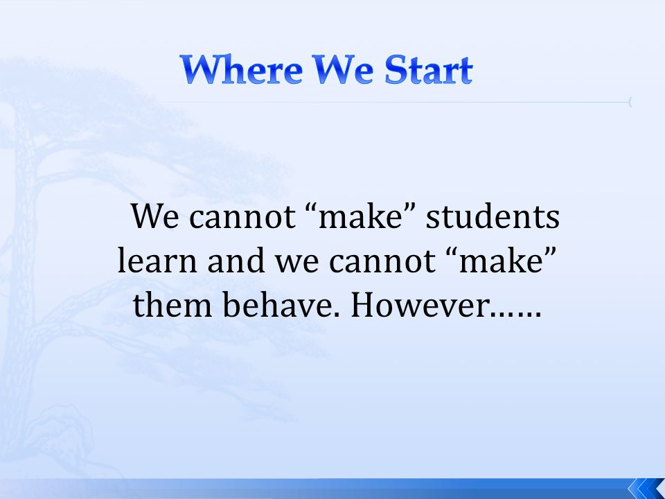 Where We Start We cannot make students learn and we cannot make them behave. However……