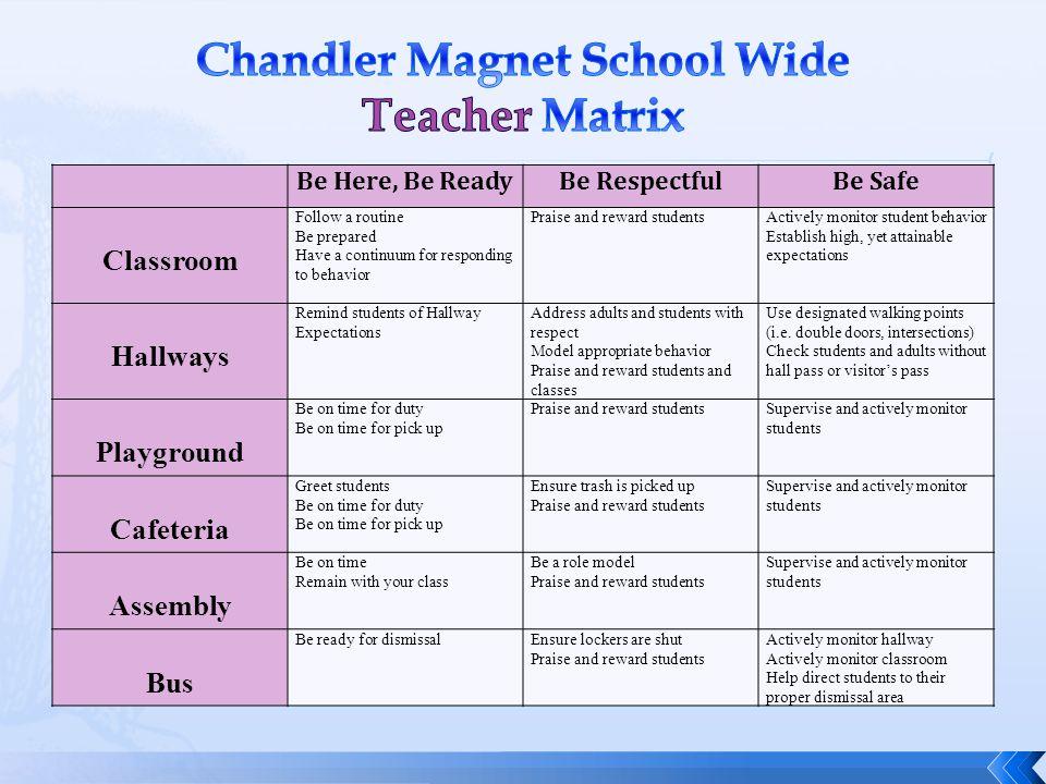 Chandler Magnet School Wide Teacher Matrix