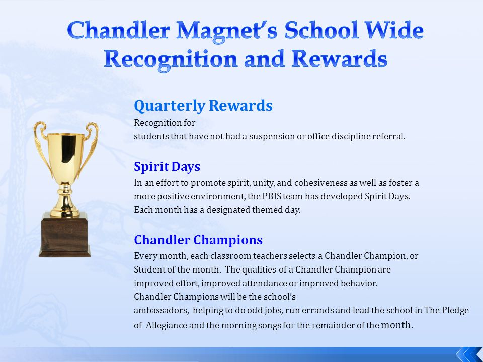Chandler Magnet's School Wide Recognition and Rewards