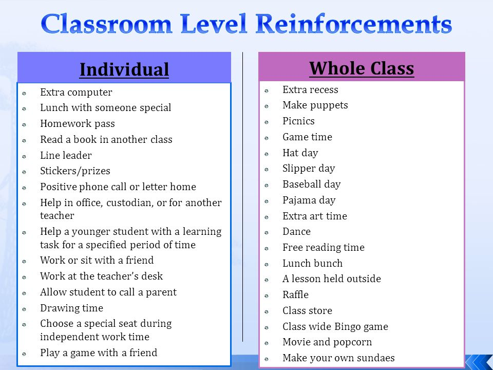 Classroom Level Reinforcements