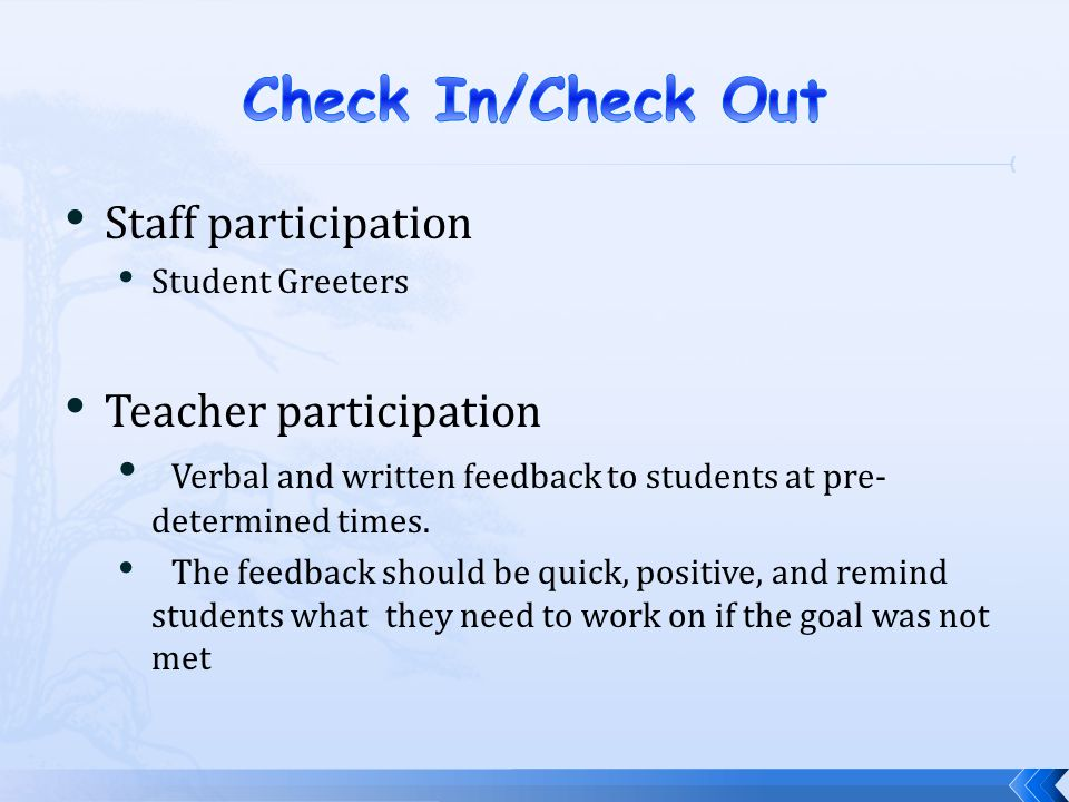 Check In/Check Out Staff participation Teacher participation