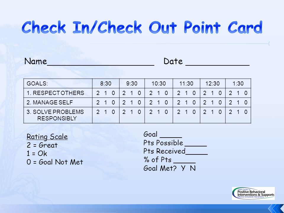 Check In/Check Out Point Card