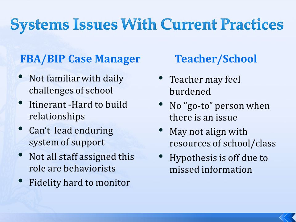 Systems Issues With Current Practices