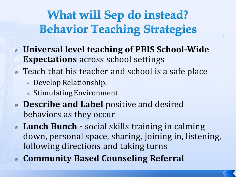 What will Sep do instead Behavior Teaching Strategies