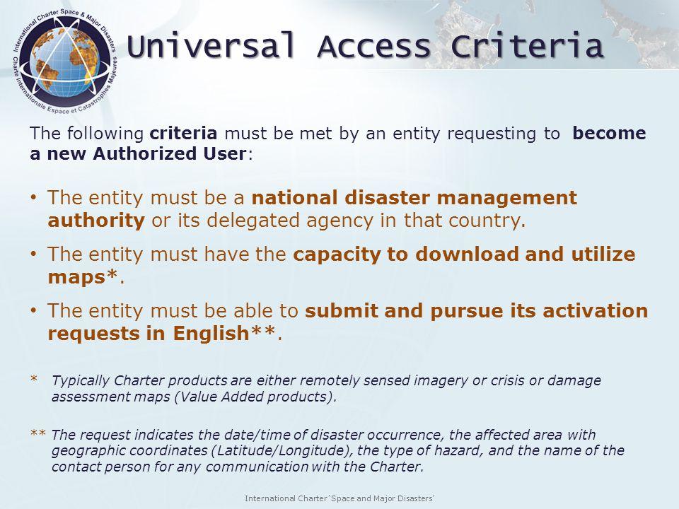 Universal Access Criteria