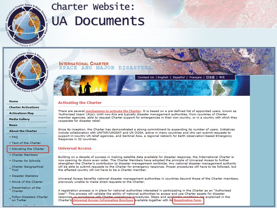 Charter Website: UA Documents