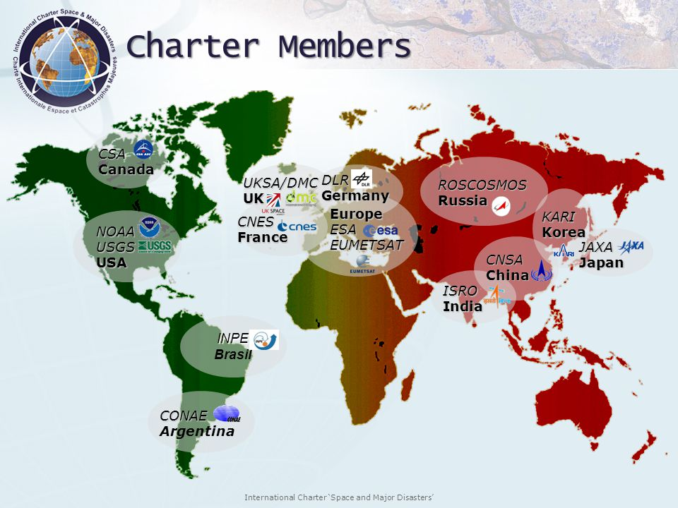 Charter Members CSA Canada DLR UKSA/DMC ROSCOSMOS Germany UK Russia