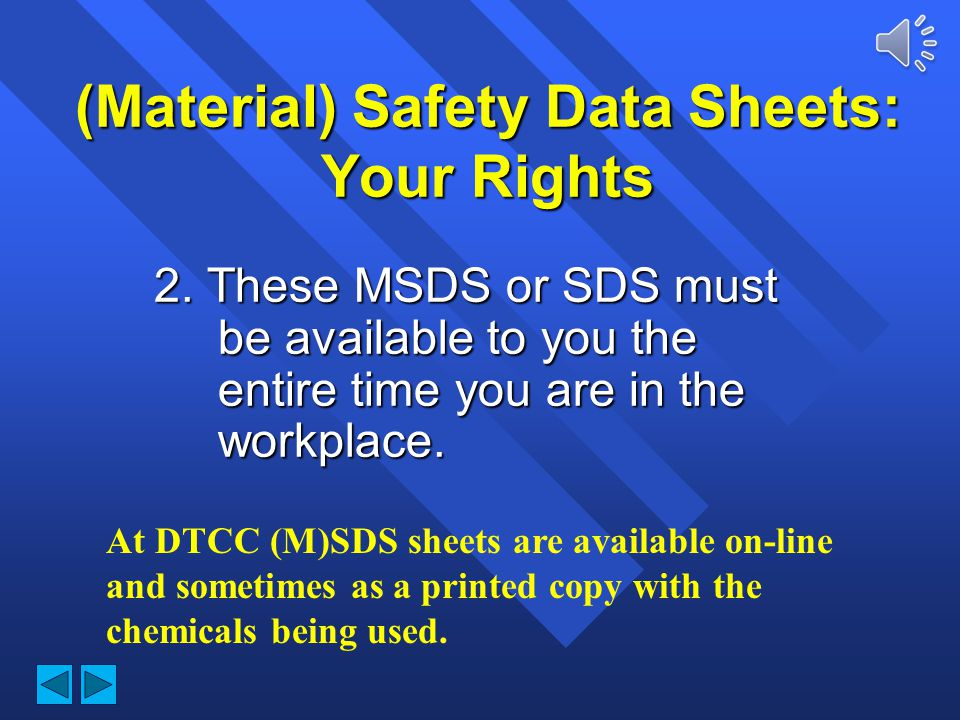 (Material) Safety Data Sheets: Your Rights