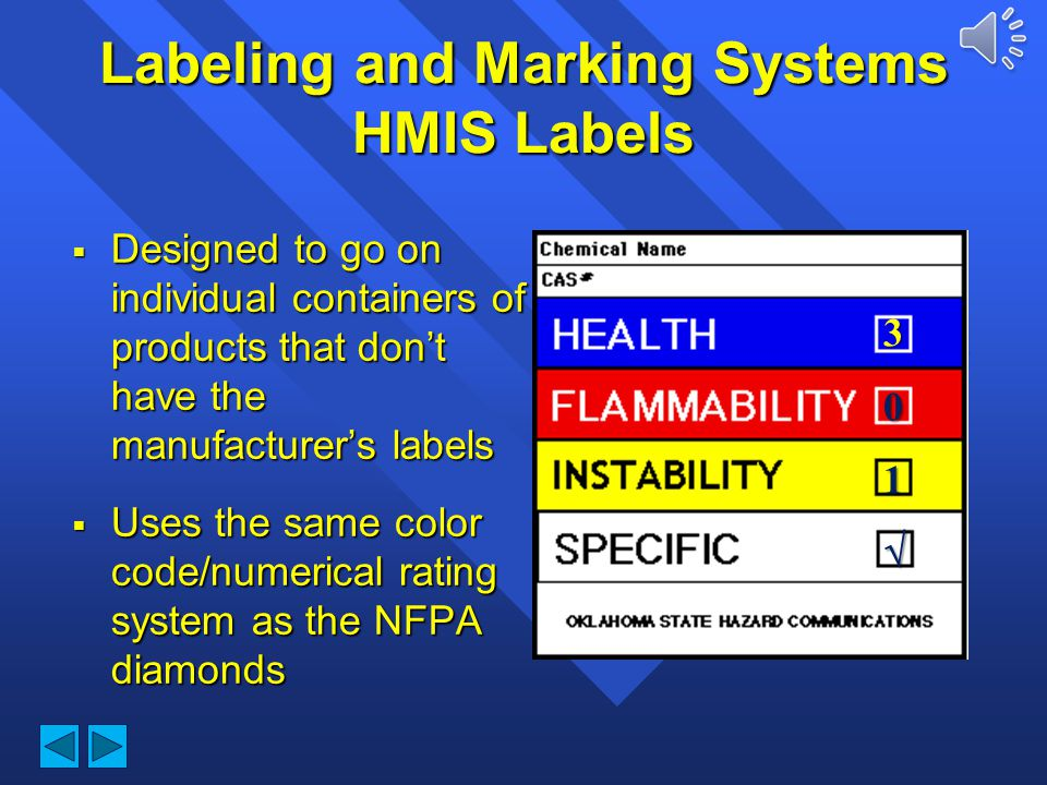 Labeling and Marking Systems HMIS Labels