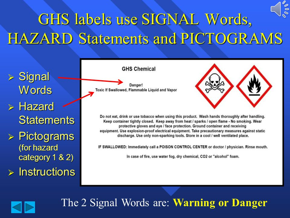 GHS labels use SIGNAL Words, HAZARD Statements and PICTOGRAMS