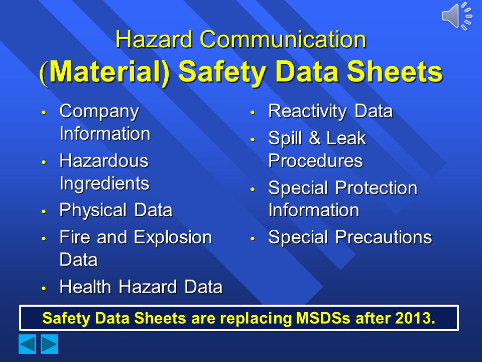 Hazard Communication (Material) Safety Data Sheets