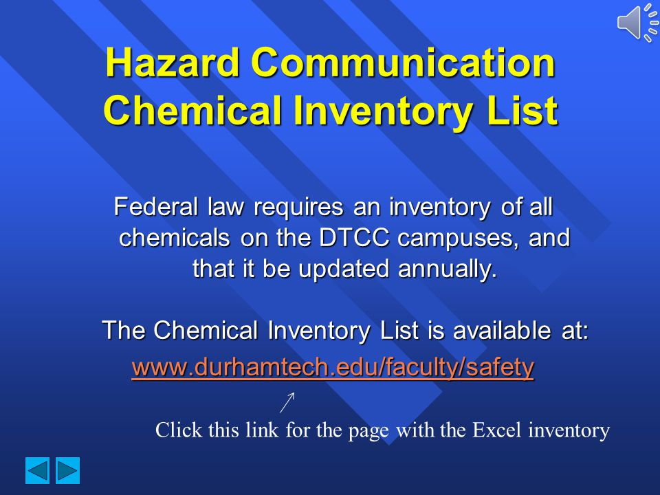 Hazard Communication Chemical Inventory List