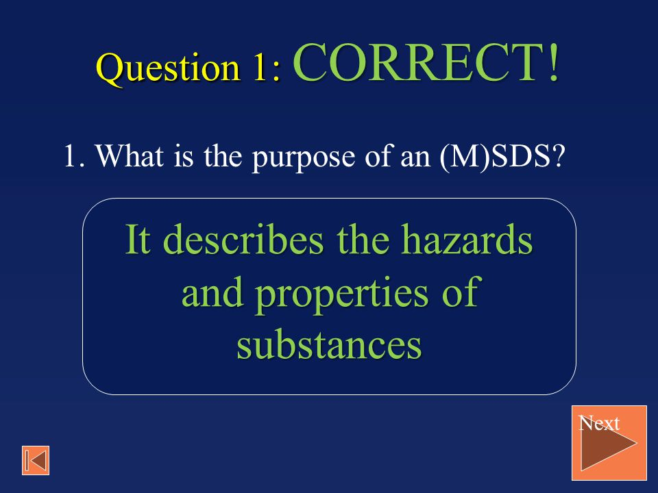 It describes the hazards and properties of substances