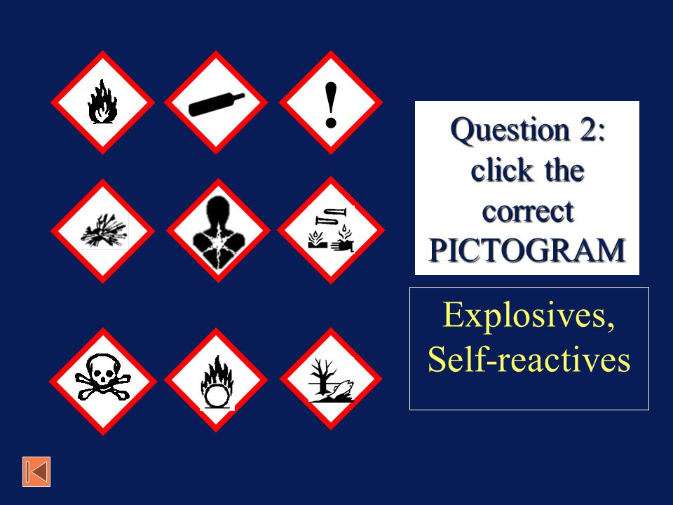 Question 2: click the correct PICTOGRAM