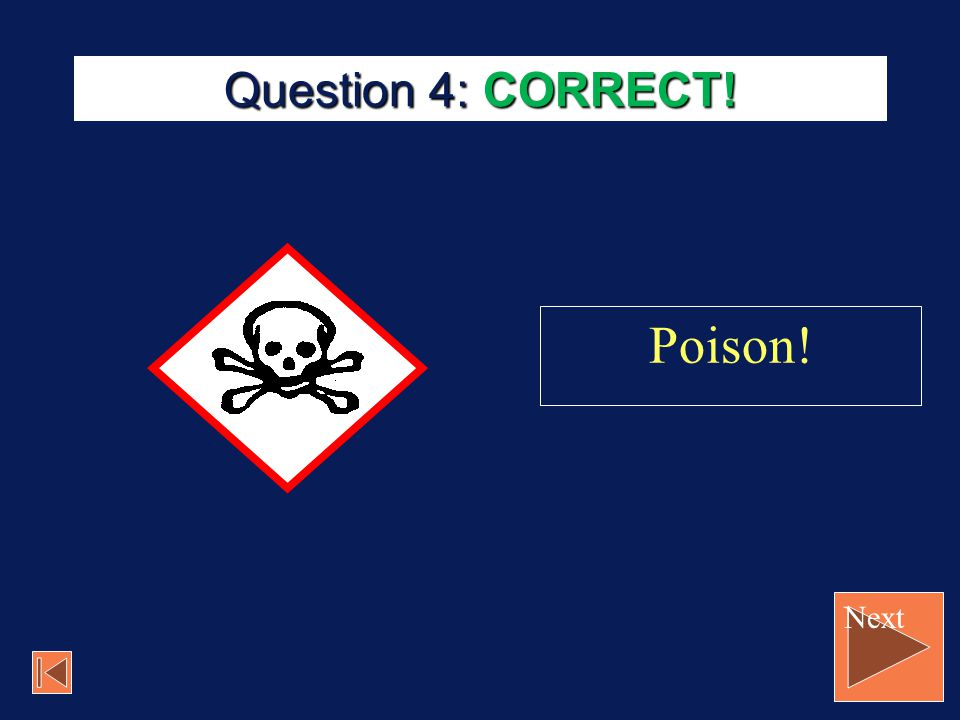 Question 4: CORRECT! Poison! Next