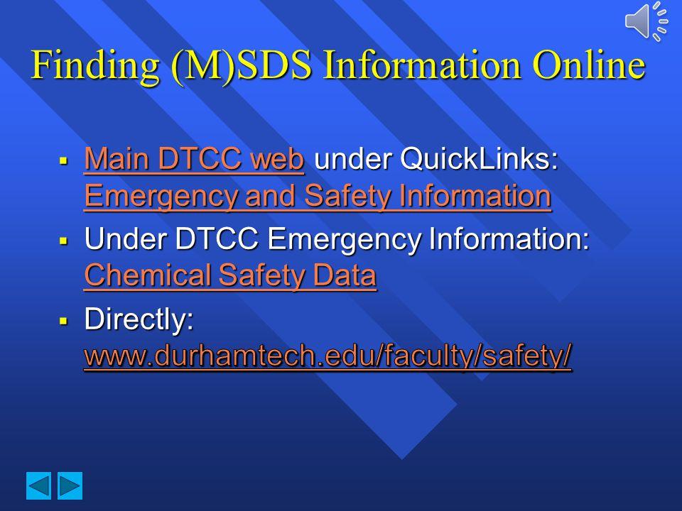Finding (M)SDS Information Online
