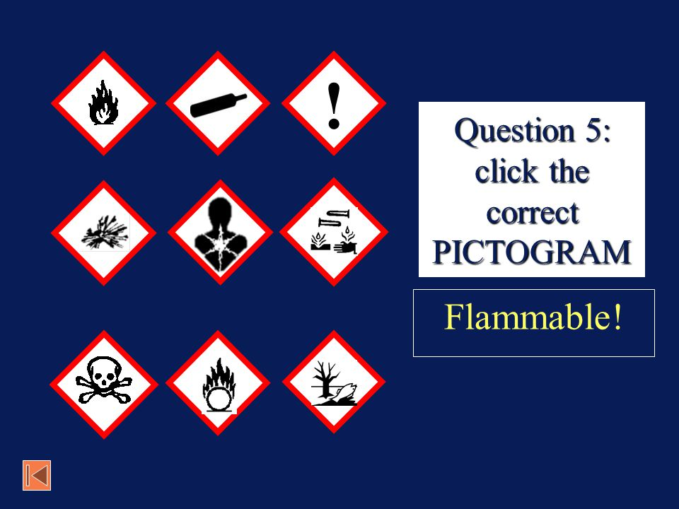 Question 5: click the correct PICTOGRAM