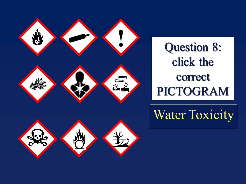 Question 8: click the correct PICTOGRAM