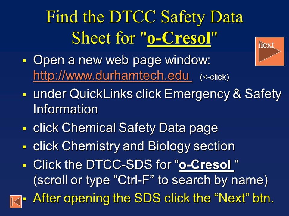 Find the DTCC Safety Data Sheet for o-Cresol