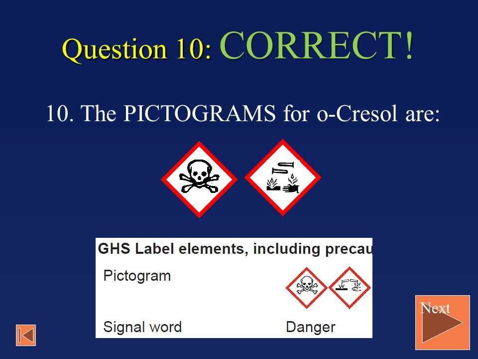 Question 10: CORRECT! 10. The PICTOGRAMS for o-Cresol are: Next