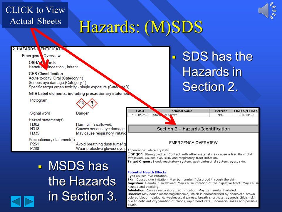 Hazards: (M)SDS SDS has the Hazards in Section 2.