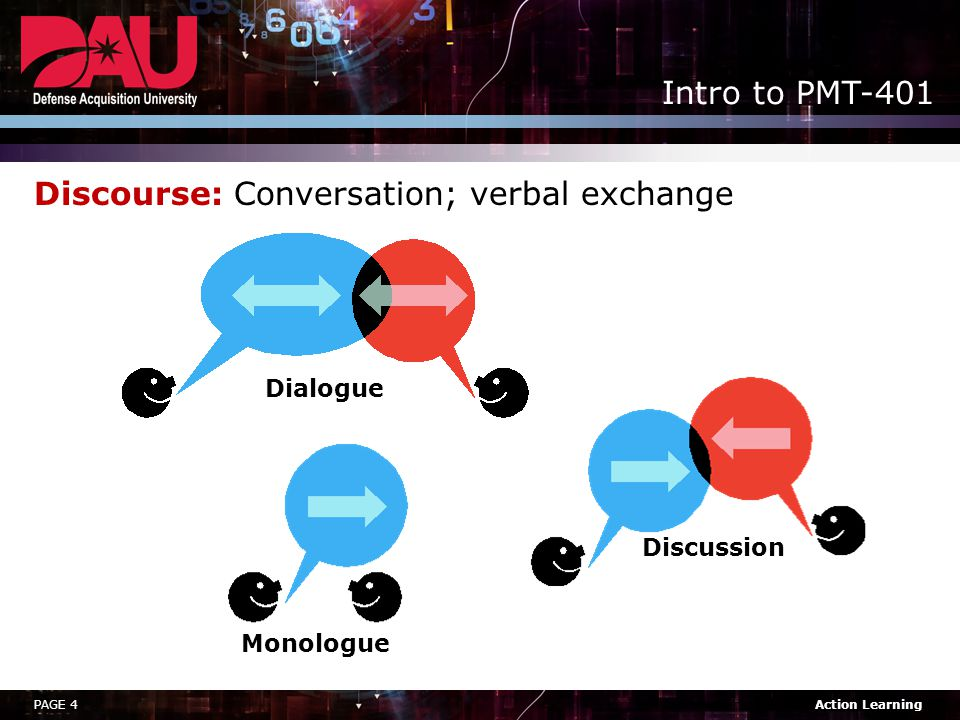 Discourse: Conversation; verbal exchange