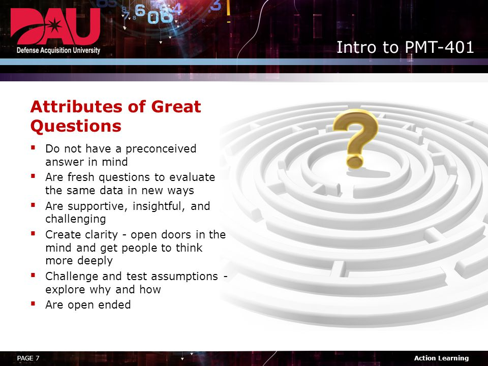 Attributes of Great Questions