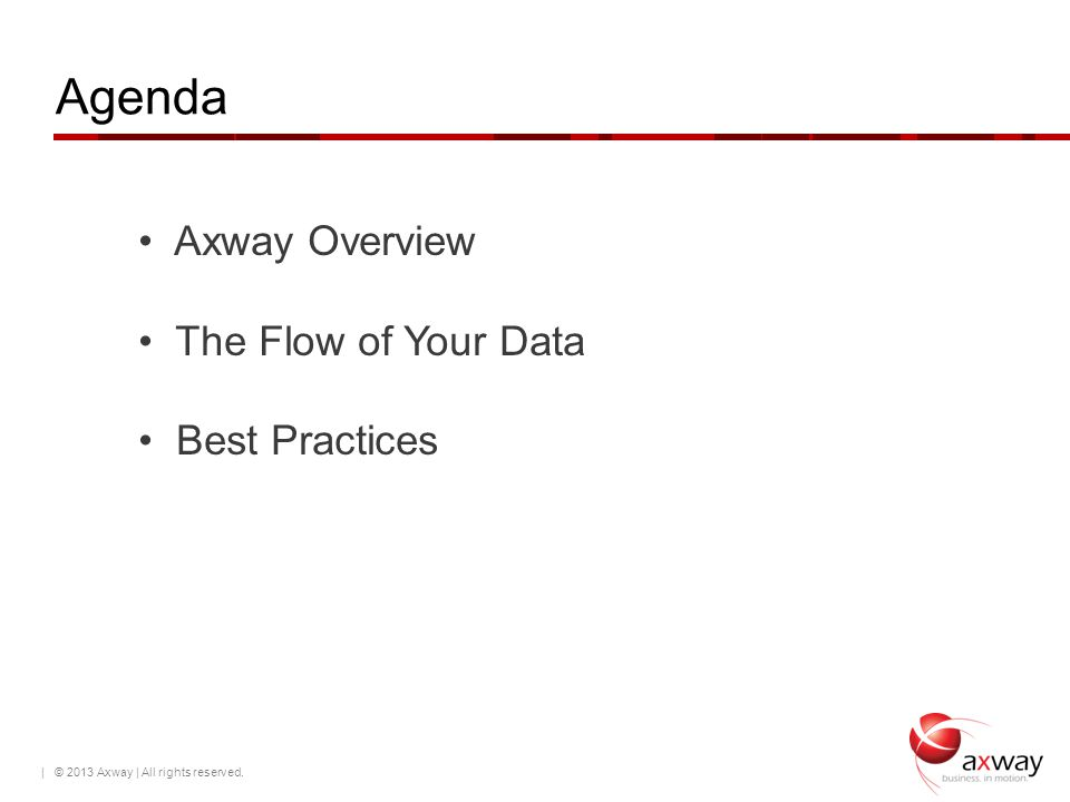 Agenda Axway Overview The Flow of Your Data Best Practices
