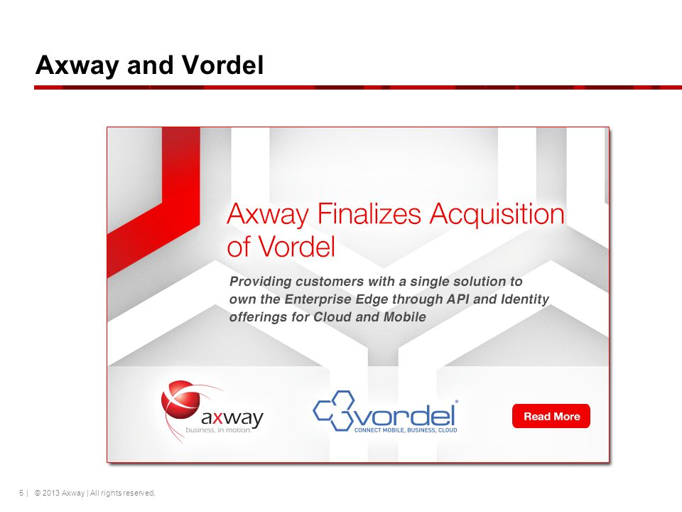 Axway and Vordel | © 2013 Axway | All rights reserved.