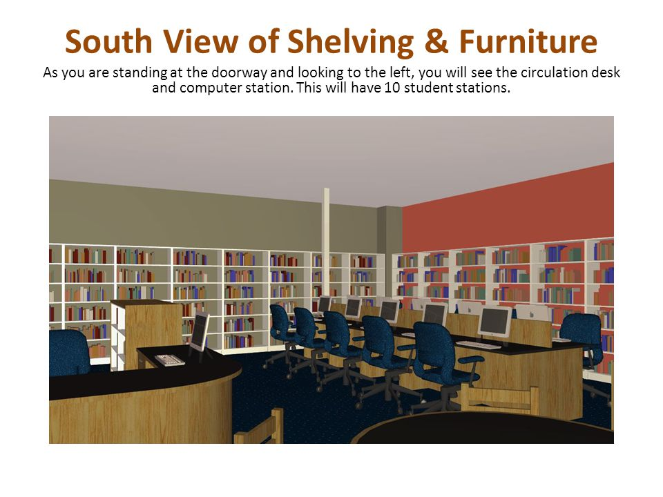 South View of Shelving & Furniture