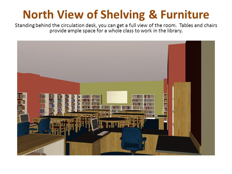 North View of Shelving & Furniture