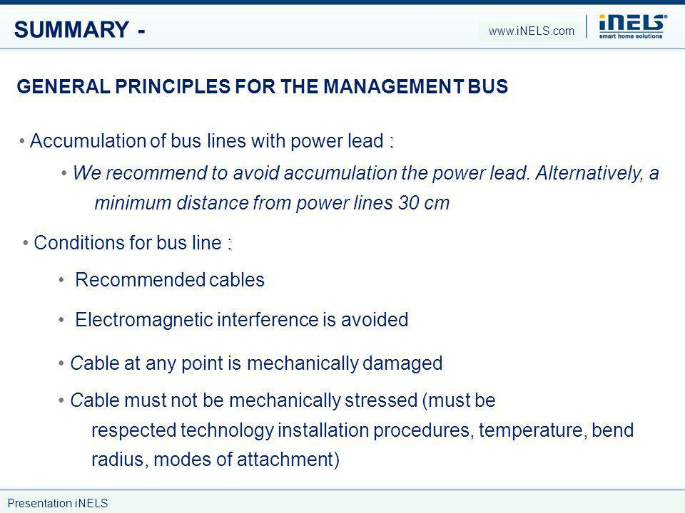 SUMMARY - GENERAL PRINCIPLES FOR THE MANAGEMENT BUS