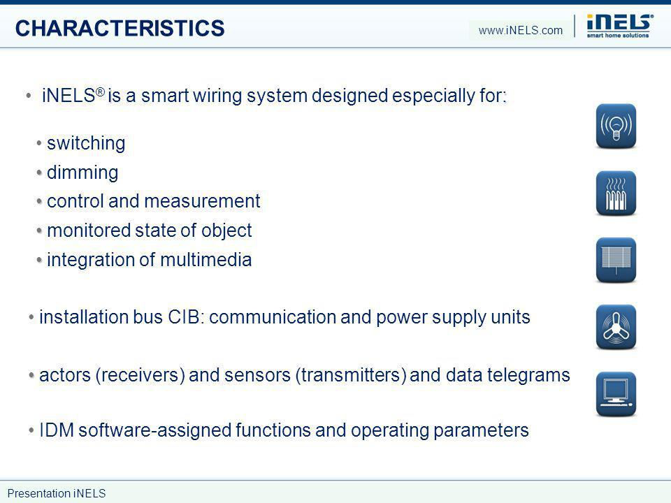 CHARACTERISTICS www.iNELS.com. iNELS® is a smart wiring system designed especially for: switching.