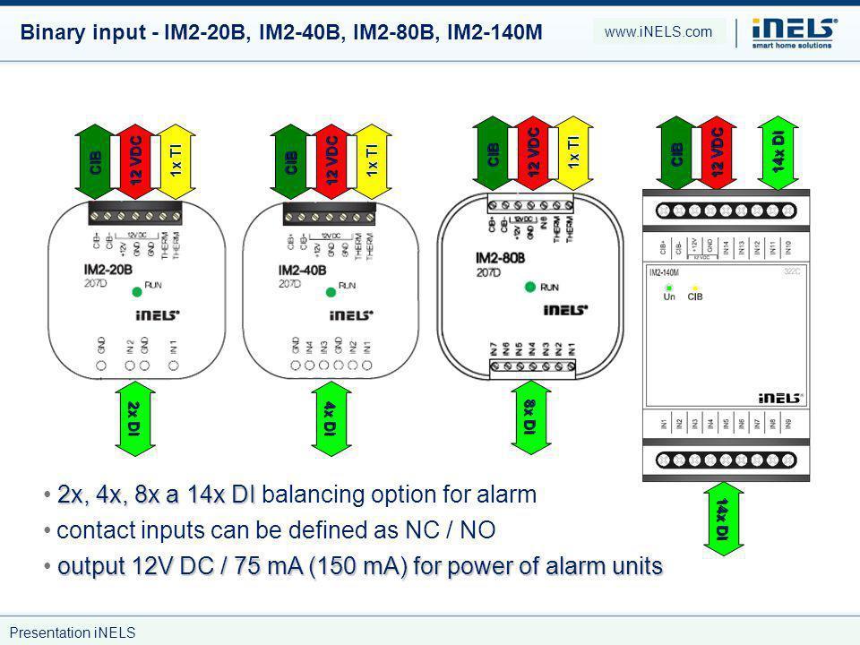 2x, 4x, 8x a 14x DI balancing option for alarm