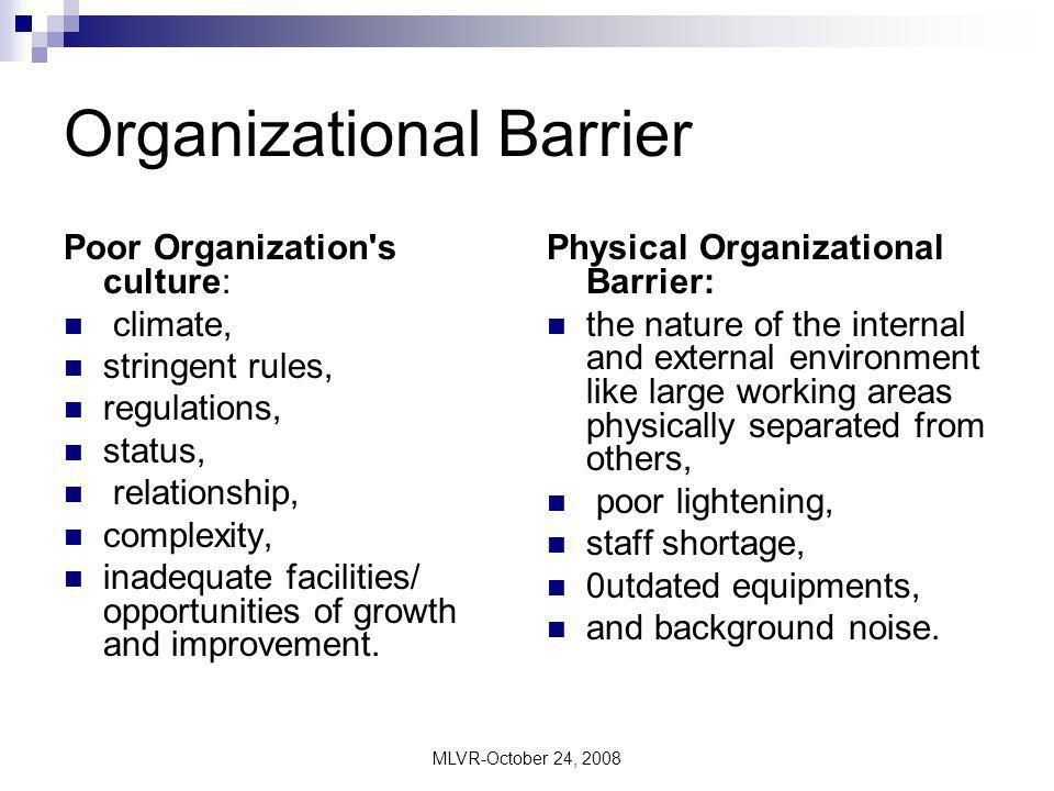 Internal and external barriers in organizational leadership