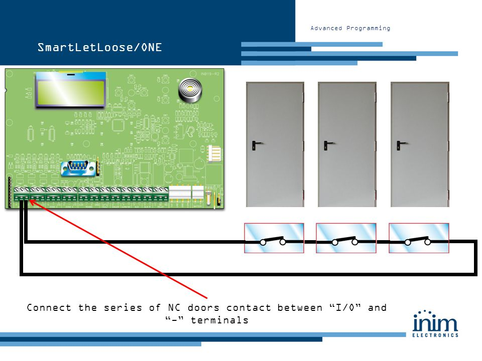 Connect the series of NC doors contact between I/O and - terminals