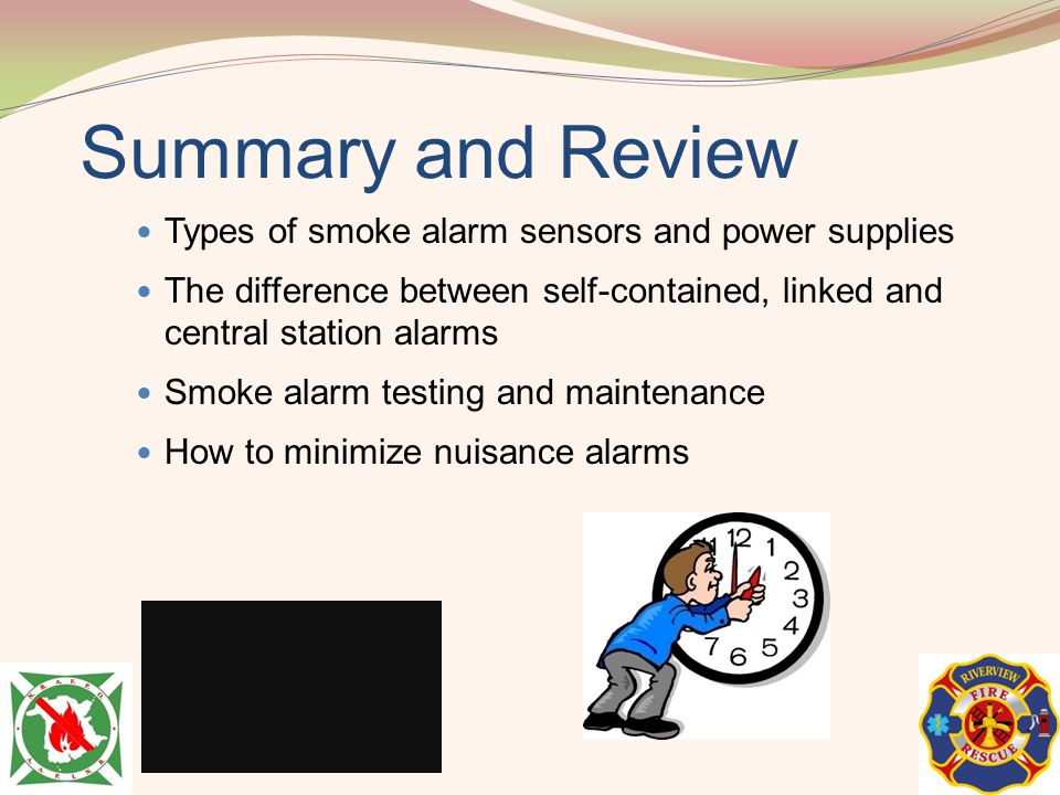 Summary and Review Types of smoke alarm sensors and power supplies