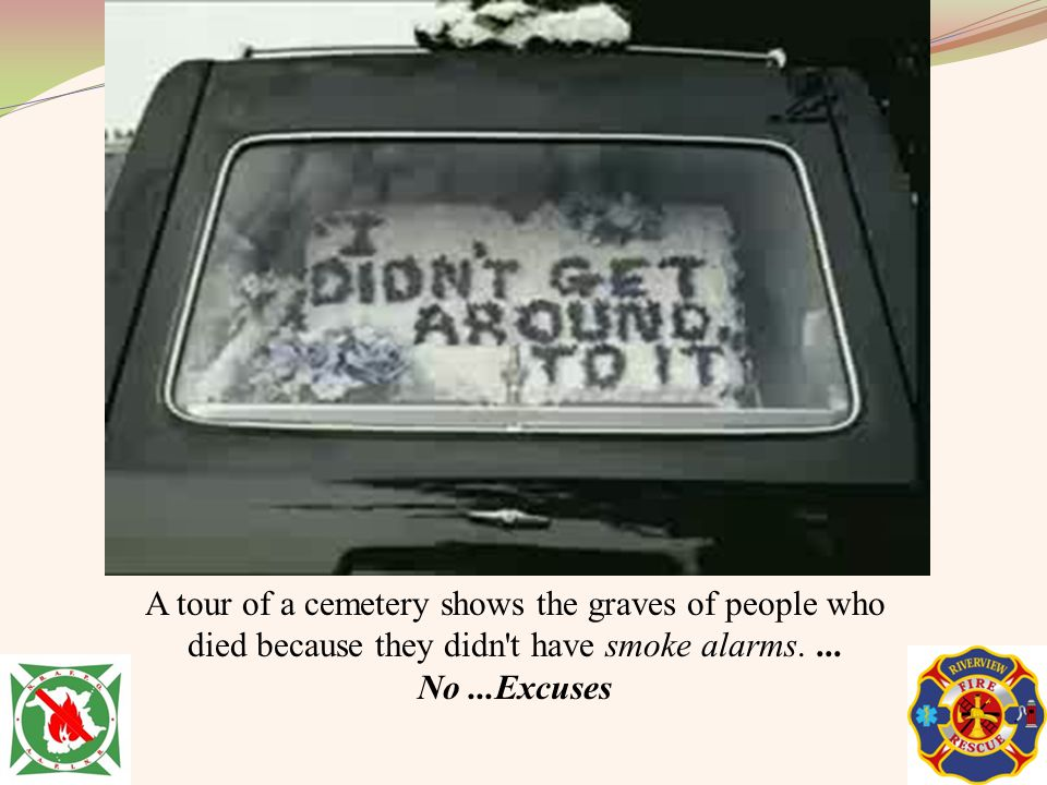 A tour of a cemetery shows the graves of people who died because they didn t have smoke alarms.