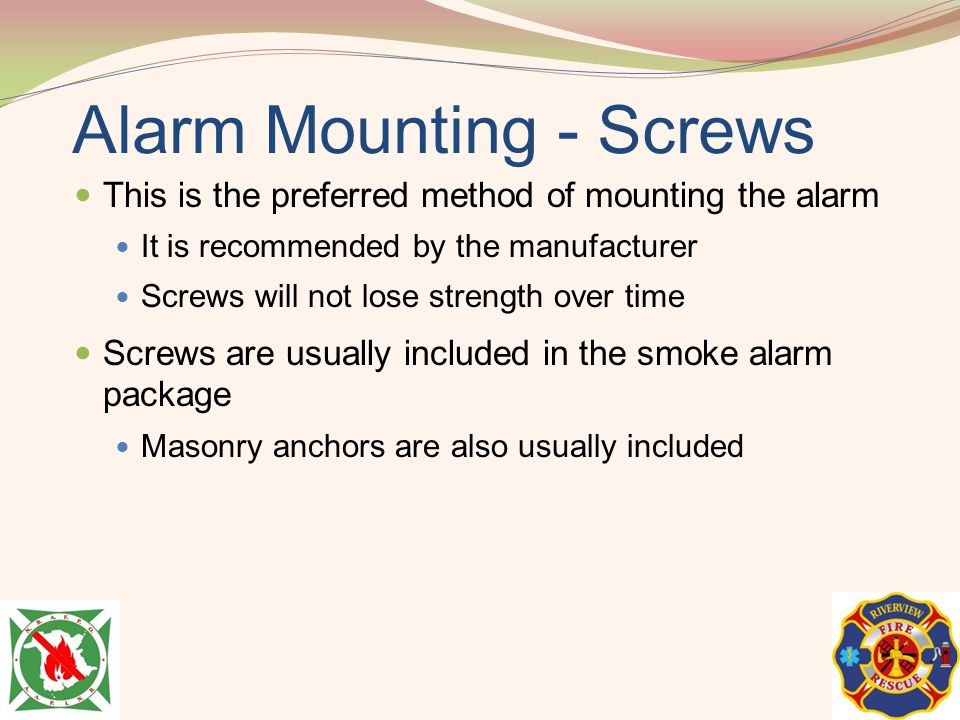 Alarm Mounting - Screws