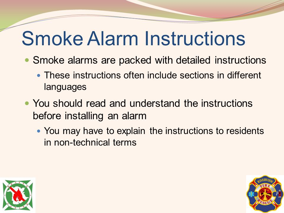 Smoke Alarm Instructions