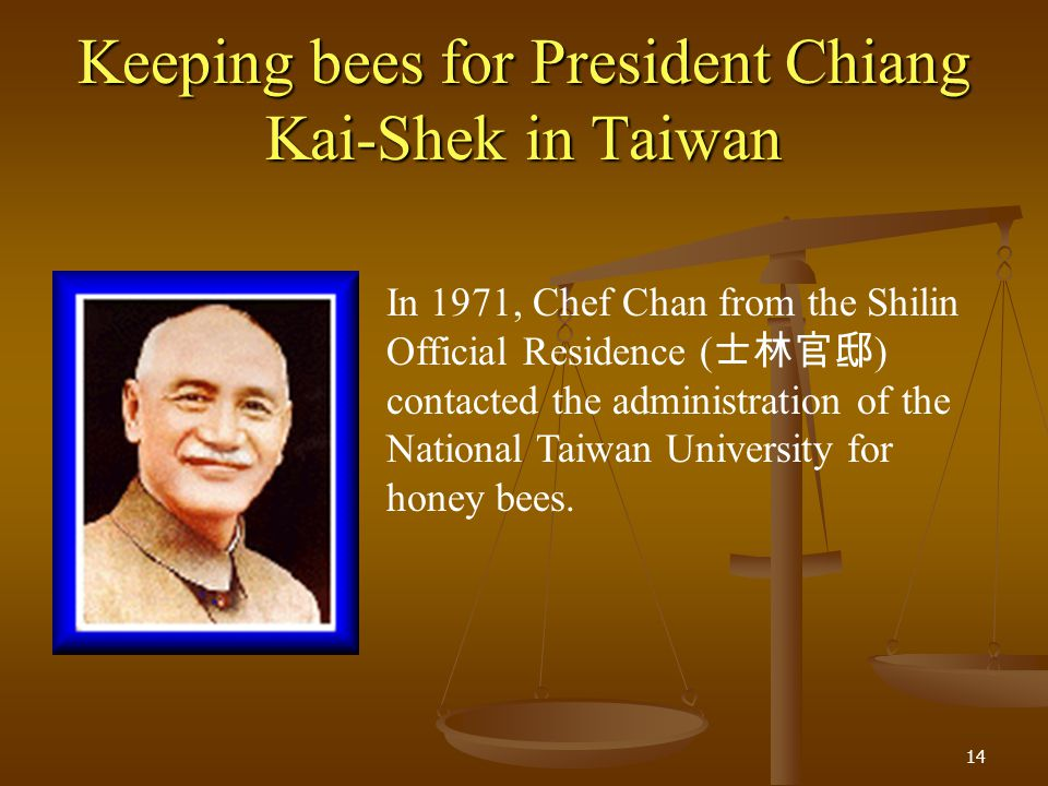 Keeping bees for President Chiang Kai-Shek in Taiwan